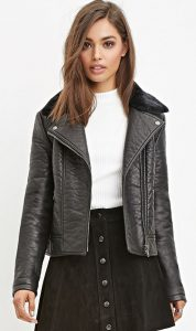 WOman in black vegan leather jacket